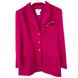 Escada pink blazer angora virgin wool size 14